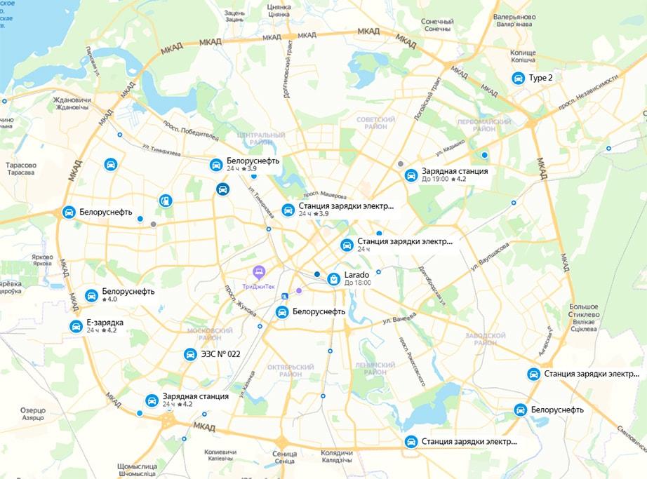 Карта электрозаправок в Минске